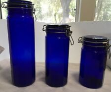 """3 PIECES COBALT BLUE GLASS CANISTERS LID W RUBBER SEAL 13 """", 10"""", 8"""""""