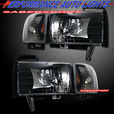94-01 DODGE RAM PICKUP BLACK COLOR HEADLIGHTS + CORNER LIGHTS 4PCS COMBO