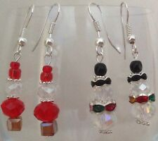 *Hand Crafted Kitsch Silver Plated Glass Crystal Beaded Earrings - For Christmas