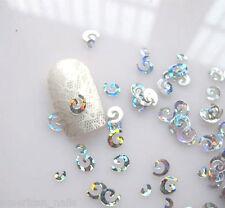 Bijoux décoration d'ongles Paillettes Nail Art SPIRALES Argent Holographique