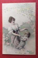 CPA. 1910. Joyeuses Pâques. Vienne. Jeune Femme dansant avec une Petite Fille.