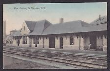 Circa 1936 Vintage Postcard New Station Depot ST STEPHEN, New Brunswick Canada