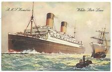 "SHIPPING - White Star Line R.M.S. ""HOMERIC"" Artist signed Thomas Postcard"