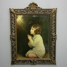 """Vtg The Infant Samuel Convex Bubble Dome Glass 21"""" Brass Frame Praying Italy"""