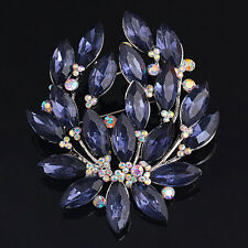 Women' Sapphire Blue Flower Brooch Pin Zircon Glass Alloy Sanwood Nice Jewelry