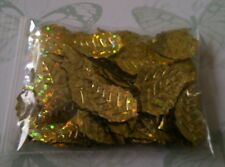 100 x Gold Christmas Leaves ~ Table Confetti, Cards, Embellishments, Scrapbook