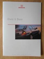 HONDA CIVIC 5 DOOR orig March 2000 UK Mkt Prestige Sales Brochure