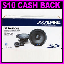 "Alpine SPS-610C-G Type-S 6.5"" 240W Component Car Speakers Pair Audio w/ Grilles"