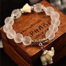 Fashion Natural Matte Crystal Elephant Stone Bead Women Man Bracelet Jewelry