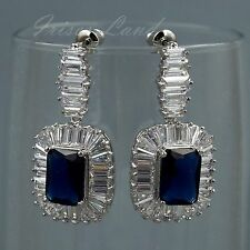 White Gold Plated Sapphire Blue Cubic Zirconia Wedding Drop Dangle earrings 8113