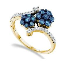 Wow! 10K Yellow Gold Blue & White Diamond Bypass Flower Cluster Band Ring .75ct