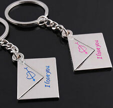 2pcs Loving Envelope Metal Keychain Keyfob Key Ring Chain Couple Keyring Set Hot
