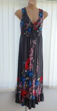 Monsoon Meadow Grey Maxi Dress Size 16 Wedding Evening Long Occasion Floral