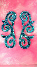 JB239 Sequin Appliques MIRROR PAIR Turquoise Scroll Designer Dance Patch 6.5""