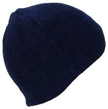BWH Womens Chenille Solid Color Winter Skull Cap W/Fleece Lining #879 Navy