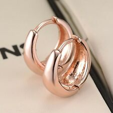 18k Rose Gold Filled Charms Smooth Earrings 15MM Women Hoop Huggie Vogue Jewelry