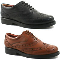 MENS SCIMITAR LEATHER BROGUE SHOES SIZE UK 6 - 14 OXFORD BLACK OR BROWN M963 KD