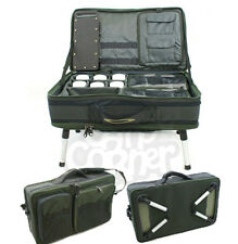 New Carp Fishing Tackle Box With Bivvy Table On Adjustable Legs Rig Station Bag