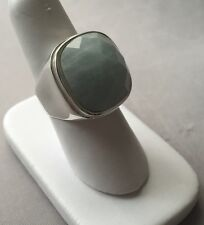 STERLING SILVER SQUARE GREEN AGATE SPIRAL BAND RING 8.5 FMH671