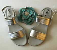 NIB Chico's Bandy Silver Gold Metallic Leather Slingback Sandals Size - 7M