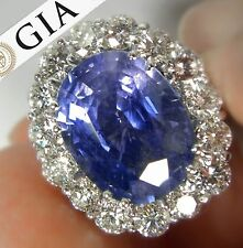 GIA Certified 16.00 ct Untreated Blue Sapphire Diamond Ring 18K White Gold