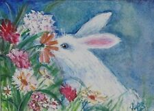 ACEO Original Art Watercolor, White Rabbit smelling flowers, Bunny,Garden Spring