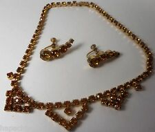 LA REL Vintage Amber Topaz Gold Necklace Choker Earrings Set Rhinestones