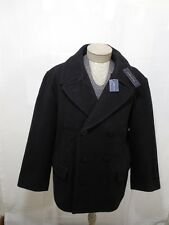Polo Ralph Lauren Mens Wool Pea Coat XXL 2XL Black Button Jacket Trench Blazer