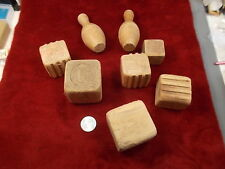 LOT OF VERY OLD VTG ANTIQUE TOY WOOD BLOCKS, INDIAN, ENGINE, MOUSE, BOWLING PINS