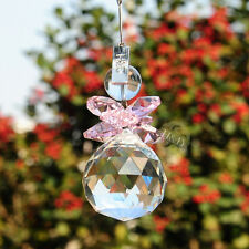Pink Sun Catcher Crystal Ball Prisms Chandelier Hanging Snowman Window Pendants