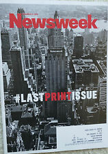 NEWSWEEK LAST PRINT ISSUE 12/31/12 Collectible Historic SC Pristine NF Has label