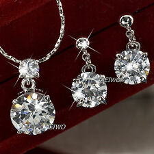 18K WHITE GOLD GF SWAROVSKI CRYSTAL NECKLACE STUD EARRINGS CLASSIC WEDDING SET