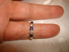 VTG COCKTAIL NICE DESIGN SAPPHIRE DIAMONDS 14K SOLID YELLOW GOLD RING BAND 5