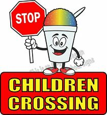 "Stop Children Crossing Vinyl Decal 14"" Concession Ice Cream Food Truck Cart"