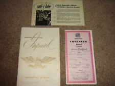 1959 Chrysler Imperial Convertible Factory Original 3 Piece Owners Manual Set