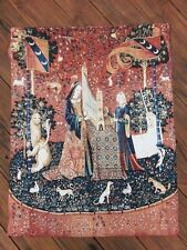 Tapestry of Lady and the Unicorn - Hearing Wall Hanging 140 x 104cm Arras