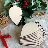 Wooden OVAL BAUBLES Christmas Shapes Decoration Tag Art Craft Embellishments x10