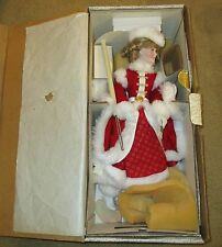 Franklin Heirloom Dolls Holly Christmas Seal Porcelain Doll - New in Box