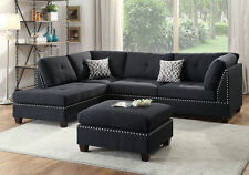 Black Polyfiber Sectional Sofa Corner Couch Reversible Chaise Nailhead Ottoman
