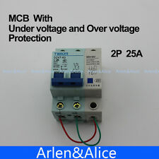 2P 25A 400V~ 50HZ/60HZ MCB MN+MV with over voltage and under voltage protection