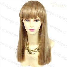 Sexy Heat Resistant Blonde mix Long Ladies Wigs Skin top Hair BANGS WIWIGS UK