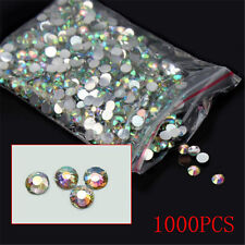 1000Pcs Nail Art Flatback 14 Facets Crystal AB Resin Round Rhinestone Beads 4mm