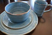 Gibson Urban Cowboy Denim Blue embossed bands dinnerware for 4 (16 pieces)