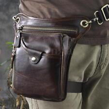 Men Genuine Leather Travel Shoulder Fanny Pack Satchel Chest Waist Thigh Leg Bag