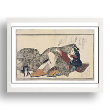 "Embracing Couple w cat,  Erotic ukiyo-e  Japanese Shunga, 12x9"" White Frame"