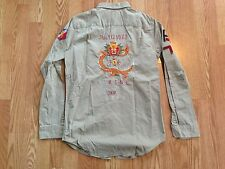 Polo Ralph Lauren distressed military army khaki shirt Chinese Dragon patch S