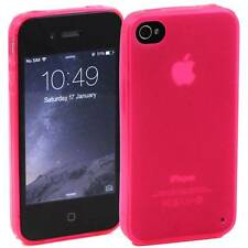 PINK APPLE iPHONE 4 / 4S SOFT SILICONE GEL RUBBER CASE: FROSTED BACK TPU M22