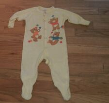 vintage Dr. Denton sleeper pajamas infant size 12 months Pale Yellow Teddy Bears