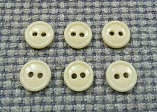 6 Vintage Cream Rim Shirt Buttons 11mm Baby Doll Clothes Card Making Crafts