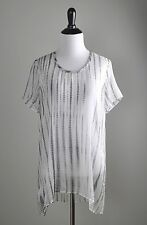 EILEEN FISHER NWT $278 100% Silk Graphite U Neck S/S Tunic Top Size Large Petite